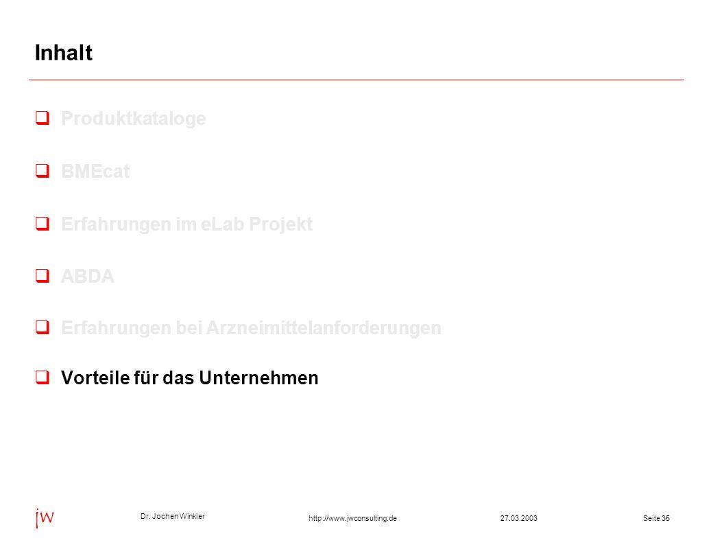 Dr. Jochen Winkler jw http://www.jwconsulting.deSeite 3527.03.2003 Inhalt Produktkataloge BMEcat Erfahrungen im eLab Projekt ABDA Erfahrungen bei Arzn