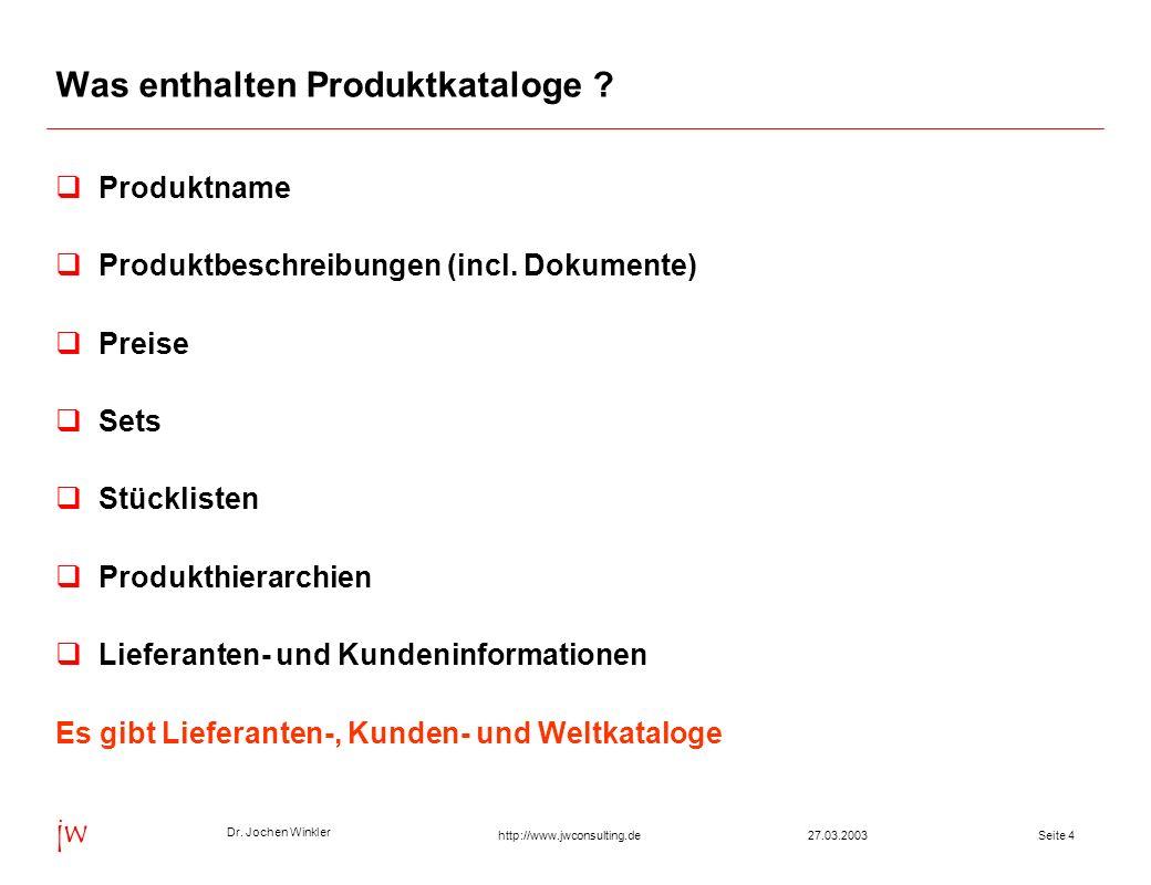 Dr. Jochen Winkler jw http://www.jwconsulting.deSeite 427.03.2003 Was enthalten Produktkataloge ? Produktname Produktbeschreibungen (incl. Dokumente)