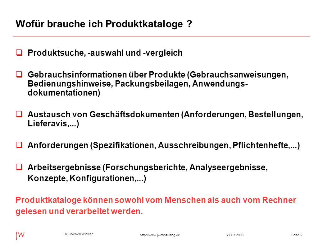 Dr. Jochen Winkler jw http://www.jwconsulting.deSeite 527.03.2003 Wofür brauche ich Produktkataloge ? Produktsuche, -auswahl und -vergleich Gebrauchsi