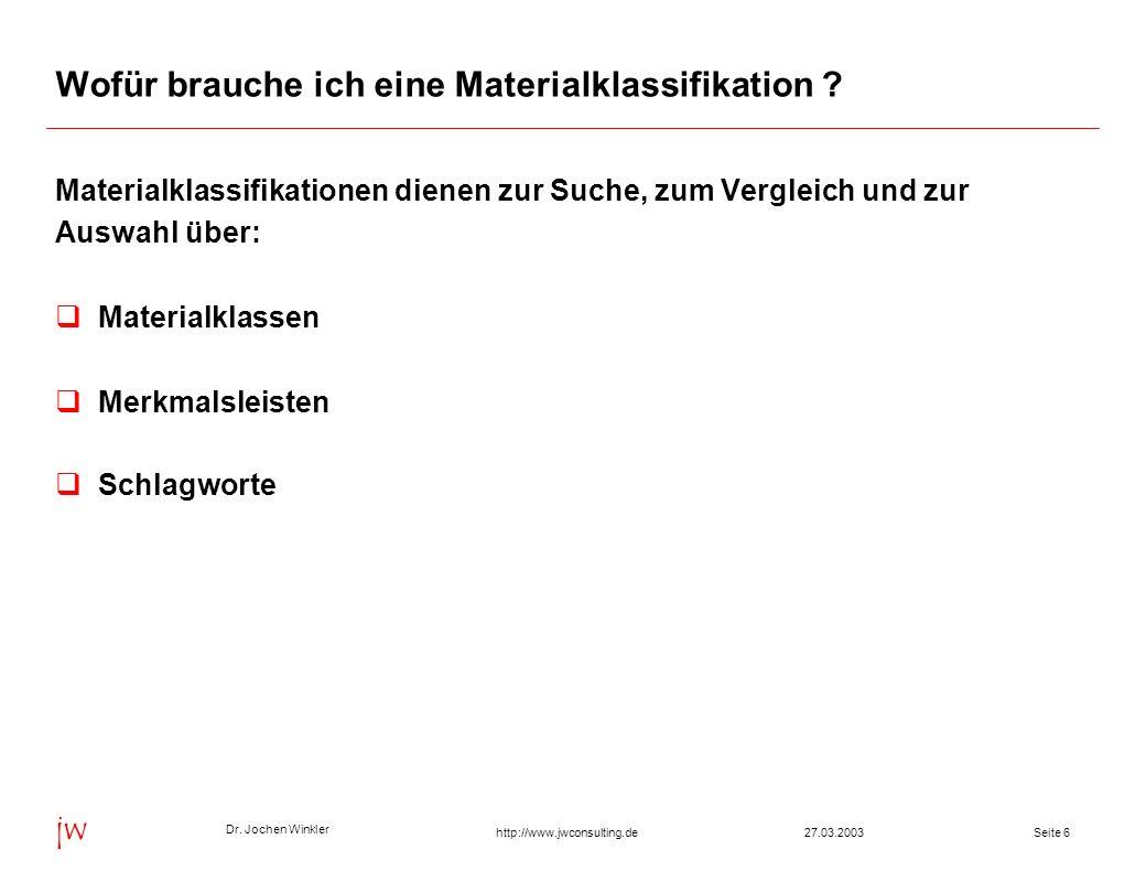 Dr. Jochen Winkler jw http://www.jwconsulting.deSeite 627.03.2003 Wofür brauche ich eine Materialklassifikation ? Materialklassifikationen dienen zur