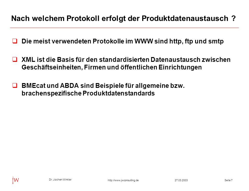 Dr. Jochen Winkler jw http://www.jwconsulting.deSeite 727.03.2003 Nach welchem Protokoll erfolgt der Produktdatenaustausch ? Die meist verwendeten Pro
