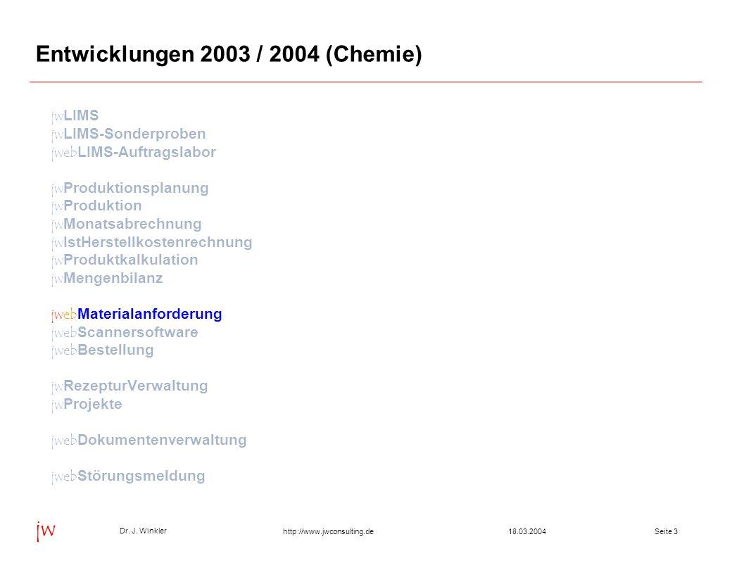 Seite 418.03.2004 Dr. J. Winkler jw http://www.jwconsulting.de Anforderung nach Freigabe