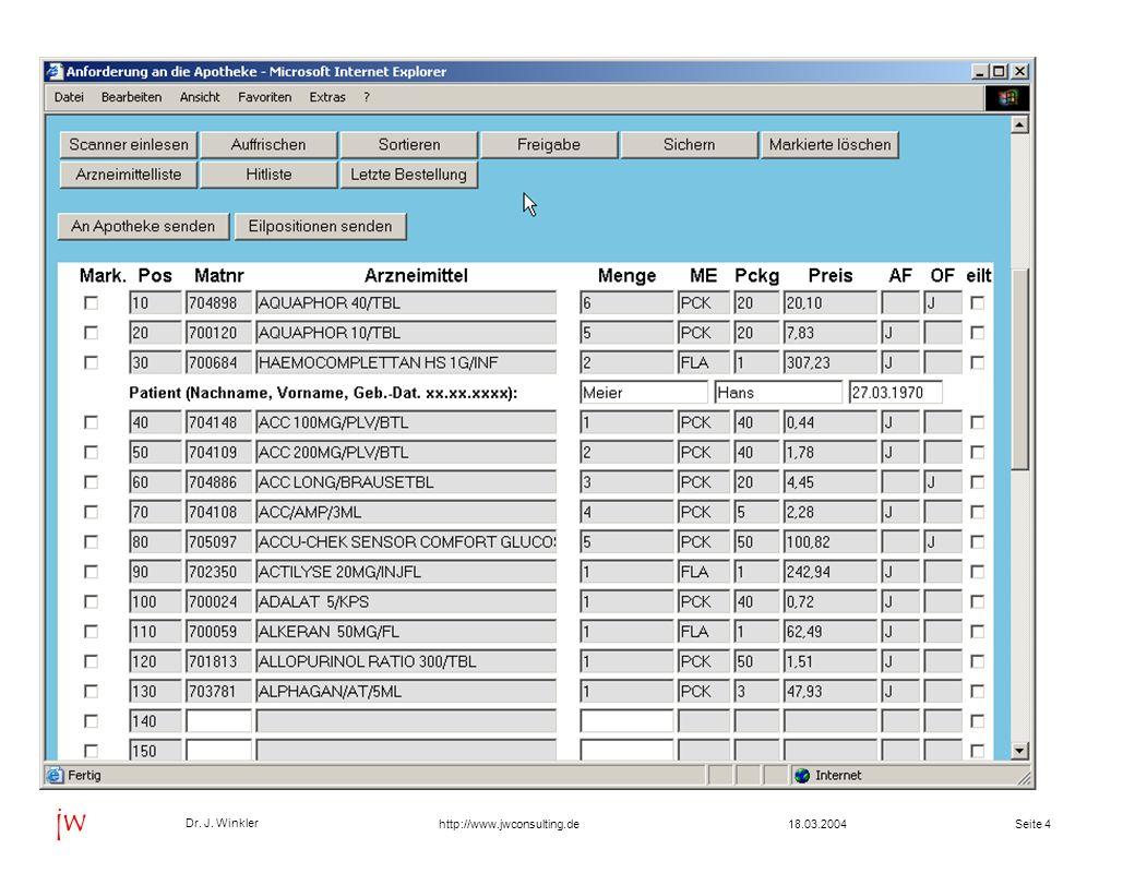 Seite 1518.03.2004 Dr. J. Winkler jw http://www.jwconsulting.de Browser