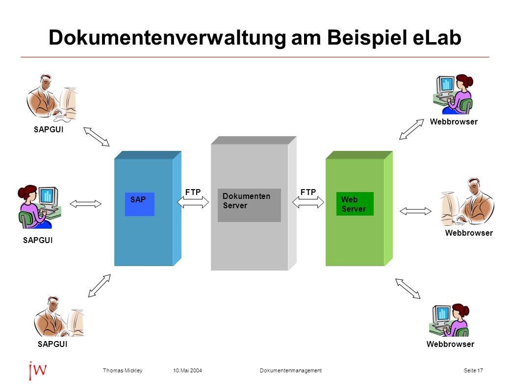 Seite 1710.Mai 2004Thomas MickleyDokumentenmanagement jw Dokumentenverwaltung am Beispiel eLab FTP SAP Dokumenten Server Webbrowser Web Server SAPGUI