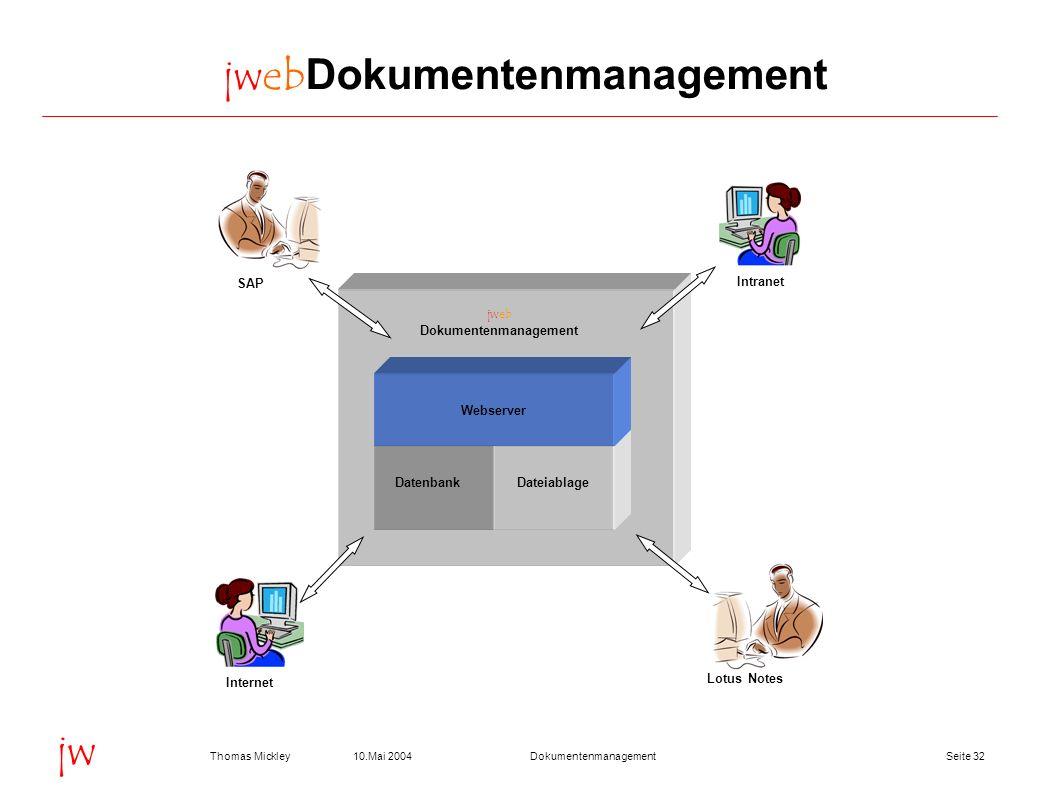 Seite 3210.Mai 2004Thomas MickleyDokumentenmanagement jw jwebDokumentenmanagement jweb Dokumentenmanagement DatenbankDateiablage Webserver SAP Lotus N
