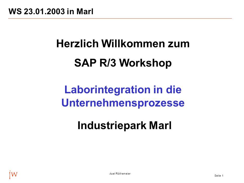jw Axel Röthemeier Seite 2 WS 23.01.2003 in Marl Zentrale Rezepturdatenbank und -verwaltung Ein Add-on, das in das SAP R/3-System voll integrierbar ist.