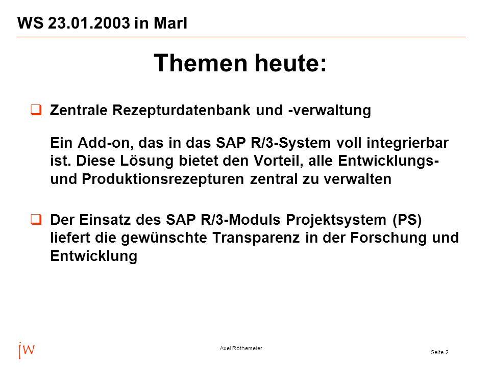 jw Axel Röthemeier Seite 3 WS 23.01.2003 in Marl Das neue jw LIMS mit innovativen Features im europaweiten Einsatz bei der Goldschmidt AG Voraussetzungen und Anforderungen für ein integriertes SAP- LIMS bezogen z.