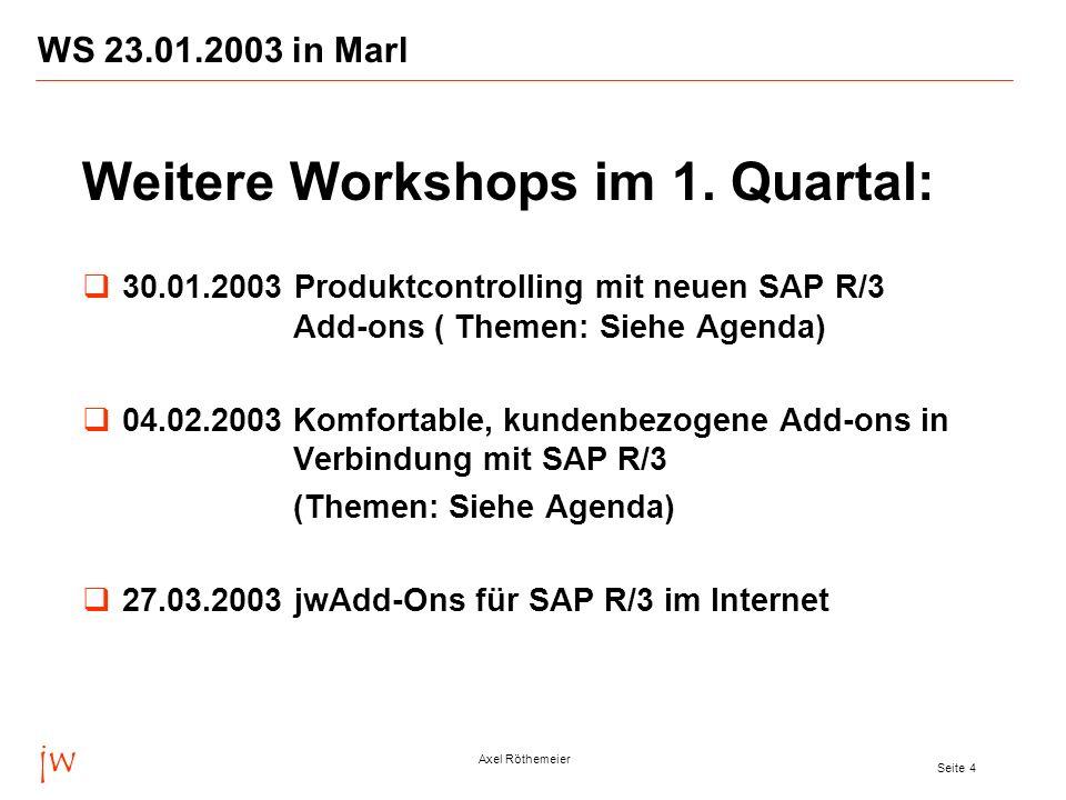 jw Axel Röthemeier Seite 5 WS 23.01.2003 in Marl Das Beratungsunternehmen jw Consulting wurde am 1.