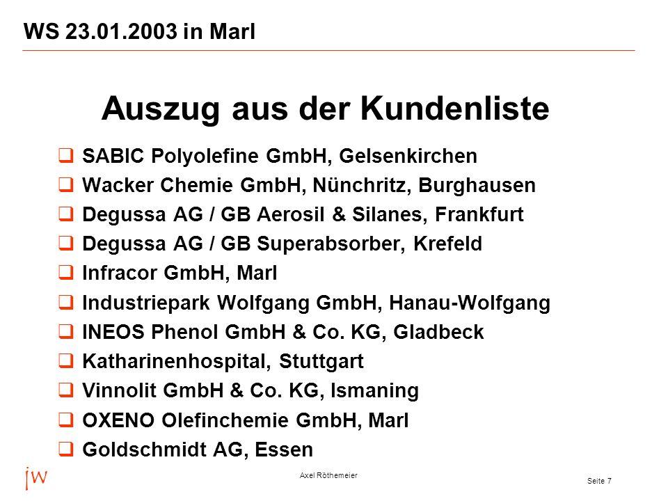 jw Axel Röthemeier Seite 8 WS 23.01.2003 in Marl Azupharma GmbH & Co., Gerlingen Aventis Pharma Deutschland GmbH, Frankfurt Degussa AG / GB Coatings & Colorants, Marl Degussa AG / GB High Performance Polymers, Marl Asta Medica AG und Arzneimittelwerk Dresden GmbH (AWD), Radebeul, Künsebeck, Frankfurt Degussa AG, Frankfurt (Charme-Projekt) BASF IT Services GmbH, Ludwigshafen BASF Pigment GmbH (Masterbatch), Köln SKW Stickstoffwerke Piesteritz GmbH, Wittenberg PCI Augsburg GmbH, Augsburg Auszug aus der Kundenliste