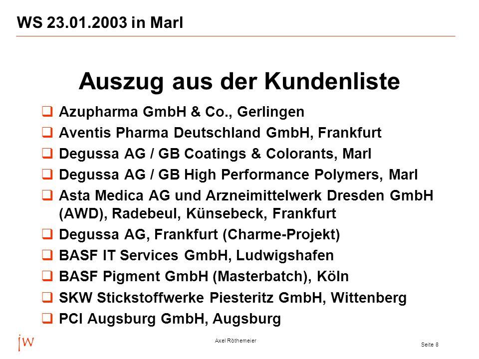 jw Axel Röthemeier Seite 9 WS 23.01.2003 in Marl Ihre direkten Ansprechpartner sind: Dr.