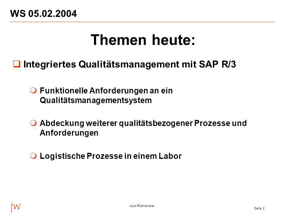 jw Axel Röthemeier Seite 2 WS 05.02.2004 Themen heute: Integriertes Qualitätsmanagement mit SAP R/3 Funktionelle Anforderungen an ein Qualitätsmanagem