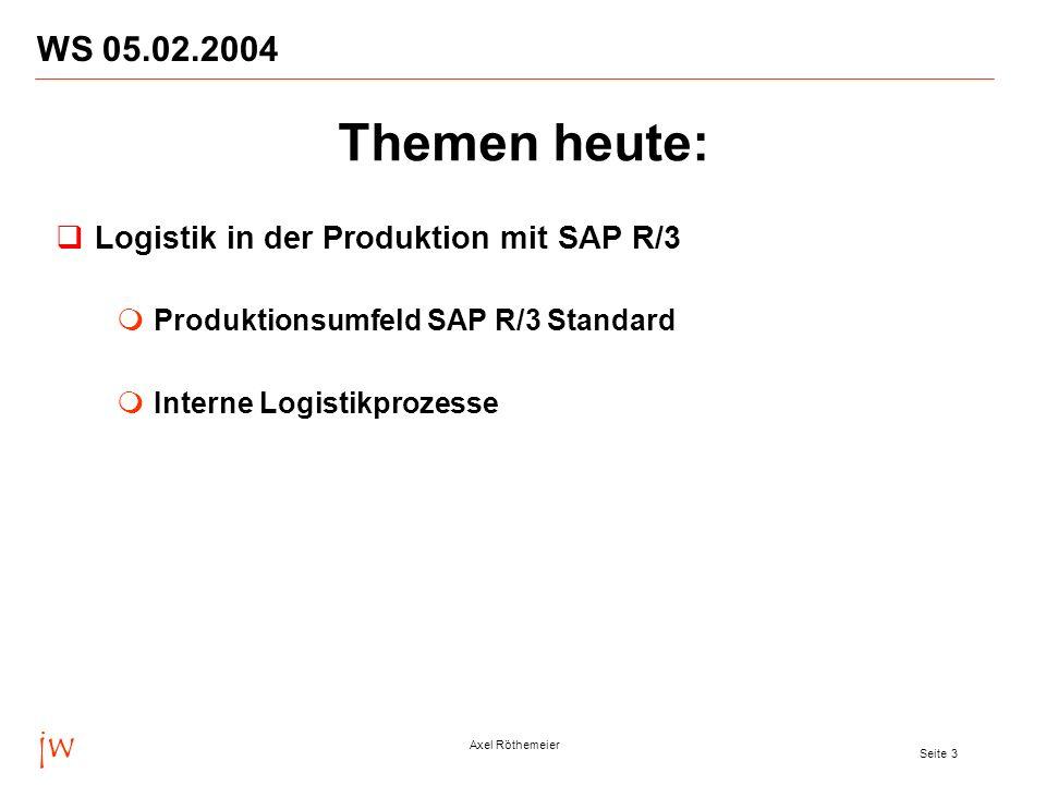 jw Axel Röthemeier Seite 3 WS 05.02.2004 Themen heute: Logistik in der Produktion mit SAP R/3 Produktionsumfeld SAP R/3 Standard Interne Logistikproze