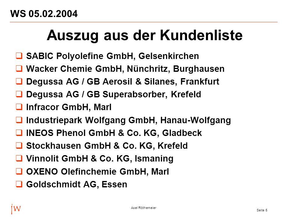 jw Axel Röthemeier Seite 6 WS 05.02.2004 Azupharma GmbH & Co., Gerlingen Aventis Pharma Deutschland GmbH, Frankfurt Degussa AG / GB Coatings & Colorants, Marl Degussa AG / GB High Performance Polymers, Marl Asta Medica AG und Arzneimittelwerk Dresden GmbH (AWD), Radebeul, Künsebeck, Frankfurt Degussa AG, Frankfurt (Charme-Projekt) BASF IT Services GmbH, Ludwigshafen BASF Pigment GmbH (Masterbatch), Köln SKW Stickstoffwerke Piesteritz GmbH, Wittenberg PCI Augsburg GmbH, Augsburg StoHaas Marl GmbH, Marl Auszug aus der Kundenliste