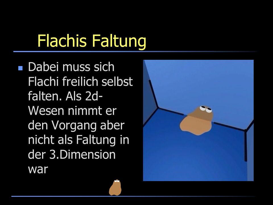 Flachis Faltung Dabei muss sich Flachi freilich selbst falten. Als 2d- Wesen nimmt er den Vorgang aber nicht als Faltung in der 3.Dimension war