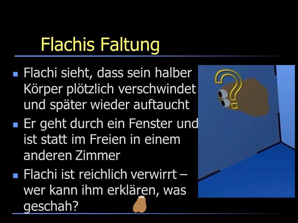 Flachis Faltung Flachi sieht, dass sein halber Körper plötzlich verschwindet und später wieder auftaucht Er geht durch ein Fenster und ist statt im Fr
