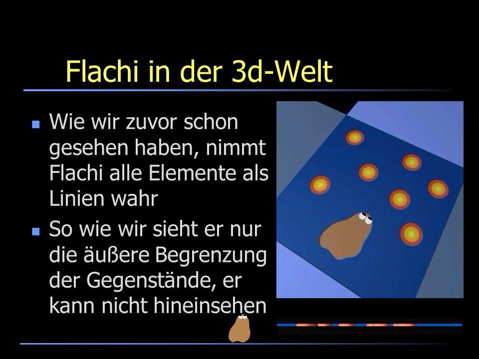 Flachi in der 3d-Welt Wie wir zuvor schon gesehen haben, nimmt Flachi alle Elemente als Linien wahr So wie wir sieht er nur die äußere Begrenzung der