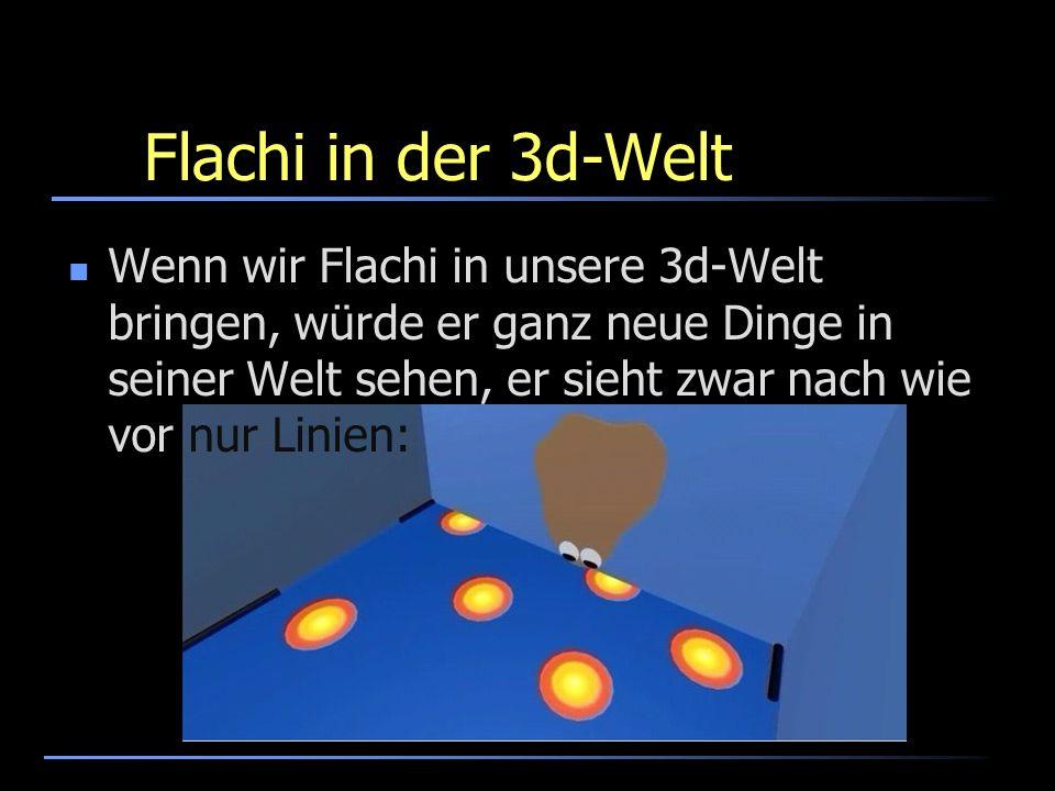 Flachi in der 3d-Welt Wenn wir Flachi in unsere 3d-Welt bringen, würde er ganz neue Dinge in seiner Welt sehen, er sieht zwar nach wie vor nur Linien: