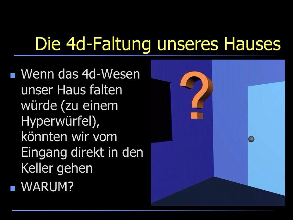 Die 4d-Faltung unseres Hauses Wenn das 4d-Wesen unser Haus falten würde (zu einem Hyperwürfel), könnten wir vom Eingang direkt in den Keller gehen WAR