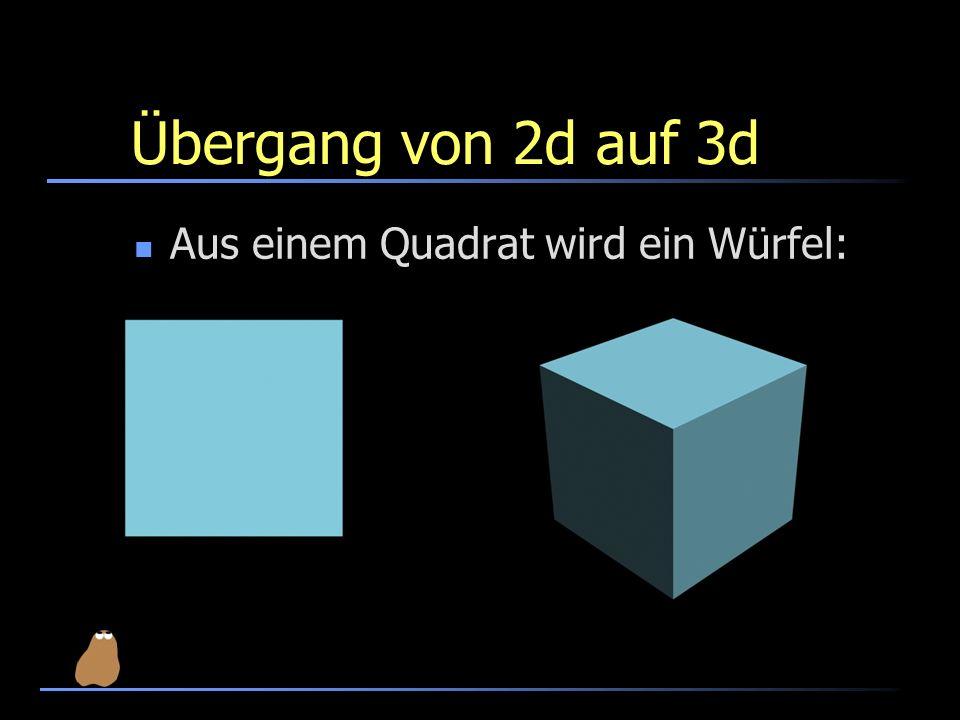 Übergang von 2d auf 3d Aus einem Quadrat wird ein Würfel: