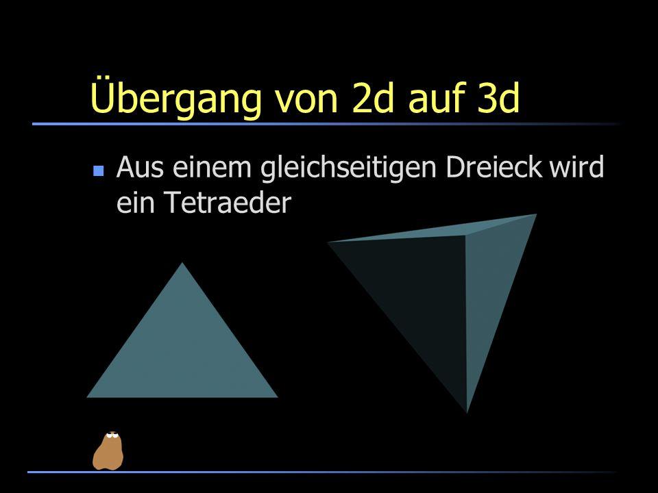 Übergang von 2d auf 3d Aus einem gleichseitigen Dreieck wird ein Tetraeder
