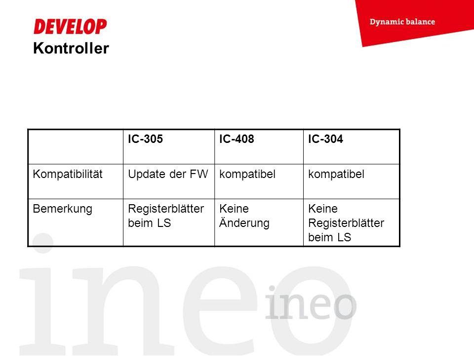 Kontroller IC-305IC-408IC-304 KompatibilitätUpdate der FWkompatibel BemerkungRegisterblätter beim LS Keine Änderung Keine Registerblätter beim LS