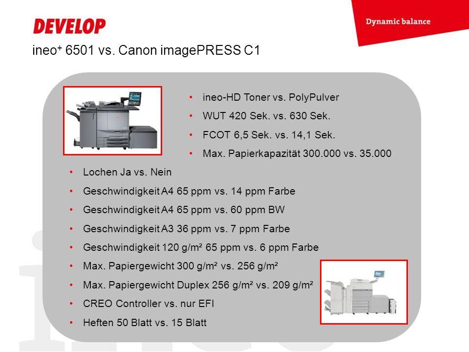 ineo + 6501 vs. Canon imagePRESS C1 ineo-HD Toner vs. PolyPulver WUT 420 Sek. vs. 630 Sek. FCOT 6,5 Sek. vs. 14,1 Sek. Max. Papierkapazität 300.000 vs