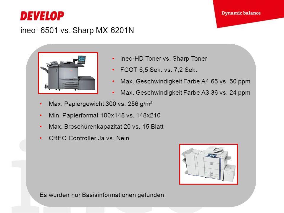 ineo + 6501 vs. Sharp MX-6201N ineo-HD Toner vs. Sharp Toner FCOT 6,5 Sek. vs. 7,2 Sek. Max. Geschwindigkeit Farbe A4 65 vs. 50 ppm Max. Geschwindigke