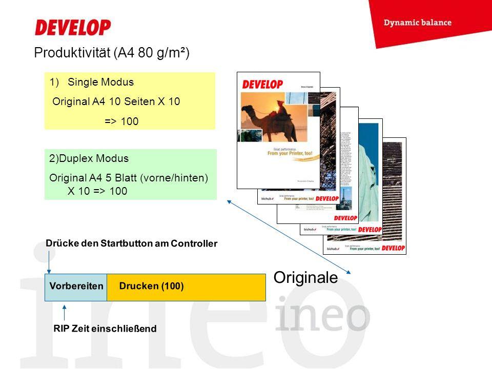 Produktivität (A4 80 g/m²) Originale 1)Single Modus Original A4 10 Seiten X 10 => 100 2)Duplex Modus Original A4 5 Blatt (vorne/hinten) X 10 => 100 Vorbereiten Drucken (100) Drücke den Startbutton am Controller RIP Zeit einschließend