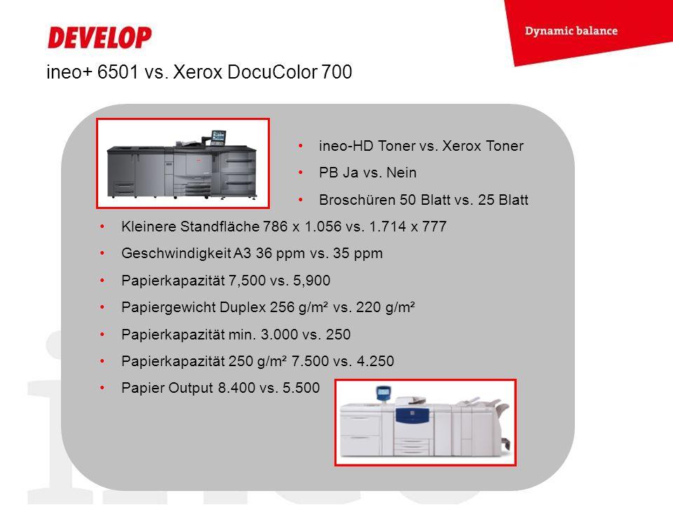 ineo+ 6501 vs. Xerox DocuColor 700 ineo-HD Toner vs. Xerox Toner PB Ja vs. Nein Broschüren 50 Blatt vs. 25 Blatt Kleinere Standfläche 786 x 1.056 vs.