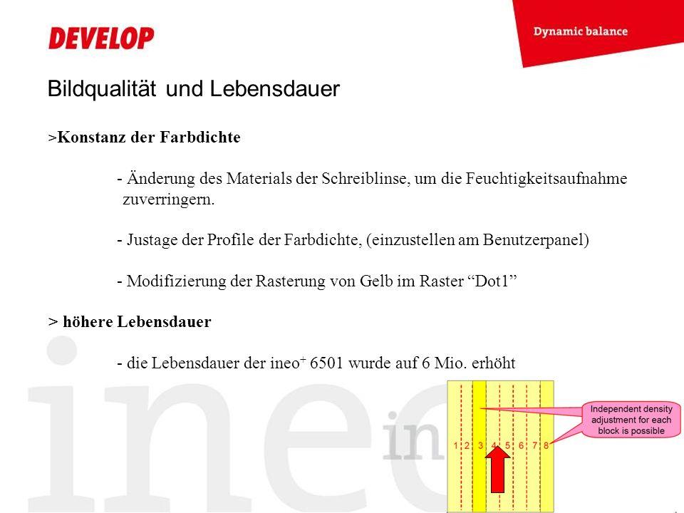 Bildqualität und Lebensdauer > Konstanz der Farbdichte - Änderung des Materials der Schreiblinse, um die Feuchtigkeitsaufnahme zuverringern. - Justage