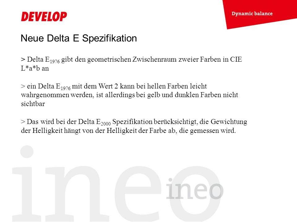 Neue Delta E Spezifikation > Delta E 1976 gibt den geometrischen Zwischenraum zweier Farben in CIE L*a*b an > ein Delta E 1976 mit dem Wert 2 kann bei