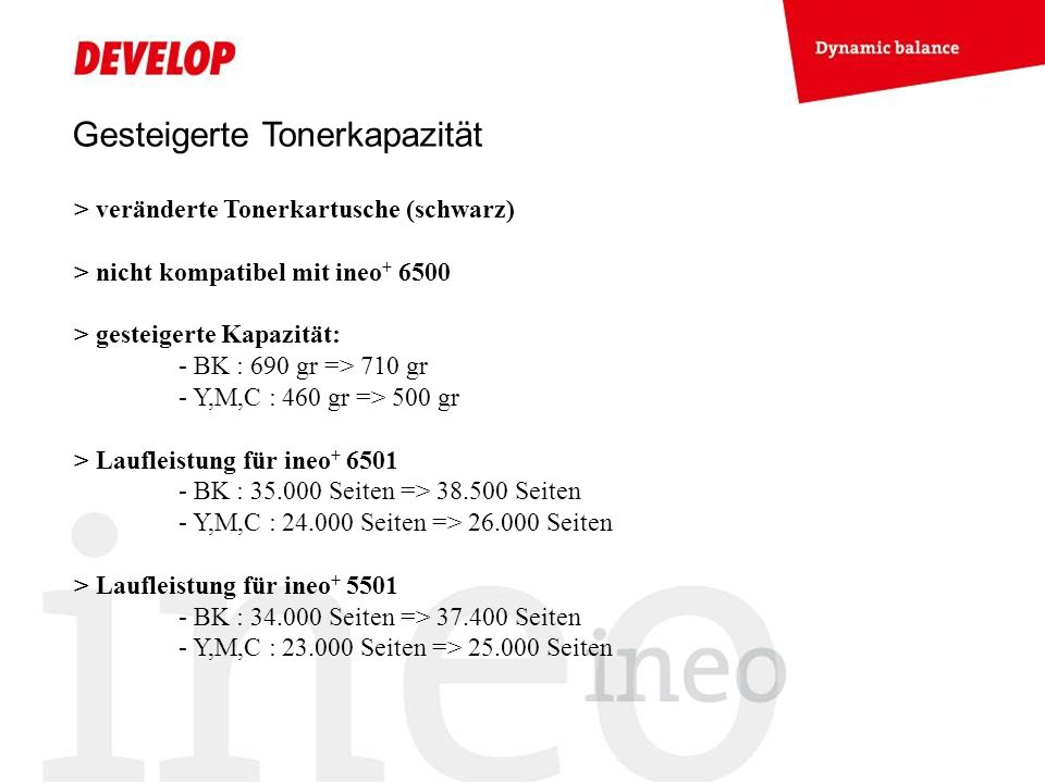 Gesteigerte Tonerkapazität > veränderte Tonerkartusche (schwarz) > nicht kompatibel mit ineo + 6500 > gesteigerte Kapazität: - BK : 690 gr => 710 gr - Y,M,C : 460 gr => 500 gr > Laufleistung für ineo + 6501 - BK : 35.000 Seiten => 38.500 Seiten - Y,M,C : 24.000 Seiten => 26.000 Seiten > Laufleistung für ineo + 5501 - BK : 34.000 Seiten => 37.400 Seiten - Y,M,C : 23.000 Seiten => 25.000 Seiten