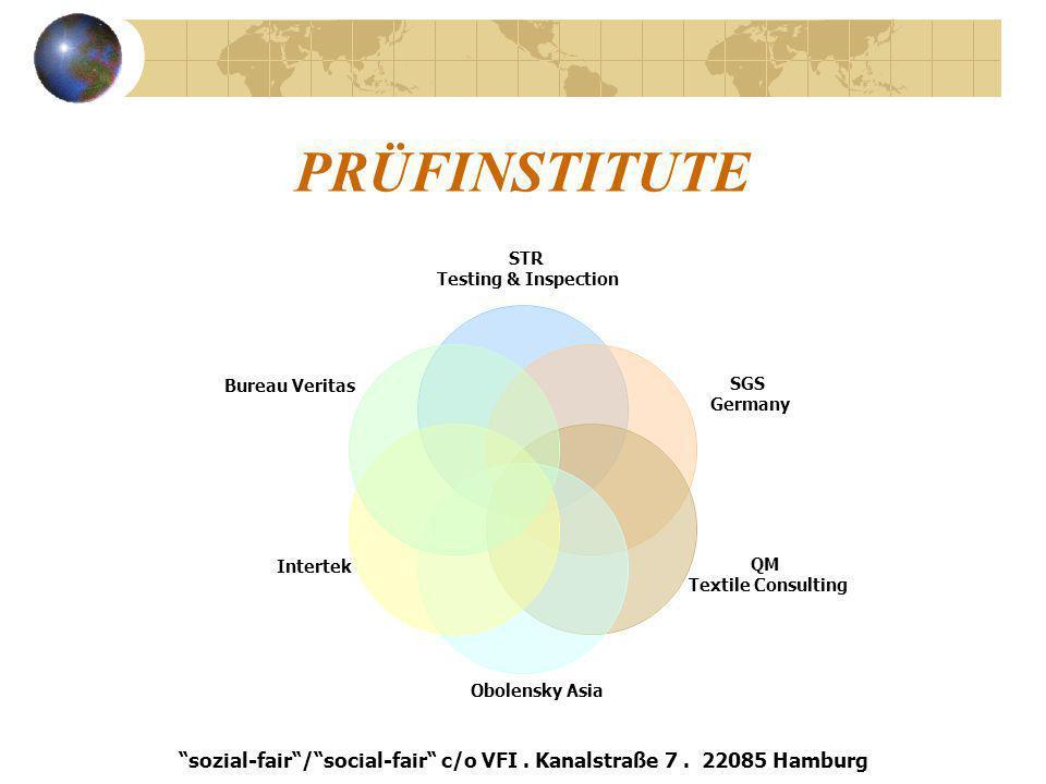 PRÜFINSTITUTE STR Testing & Inspection SGS Germany QM Textile Consulting Obolensky Asia Intertek Bureau Veritas sozial-fair/social-fair c/o VFI. Kanal