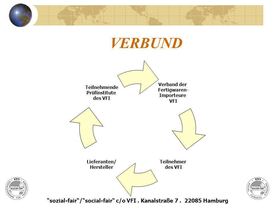 BERECHTIGUNG Jede beim VFI mit erteilter Registriernummer an sozial-fair teilnehmende Mitgliedsfirma ist berechtigt, das vom VFI markenrechtlich geschützte Siegel zur Kennzeichnung von ihr hergestellter oder gehandelter Ware oder erbrachter Dienstleistung als Label an Ware, Verpackung, auf Schriftstücken oder sonst zu verwenden sozial-fair/social-fair c/o VFI.