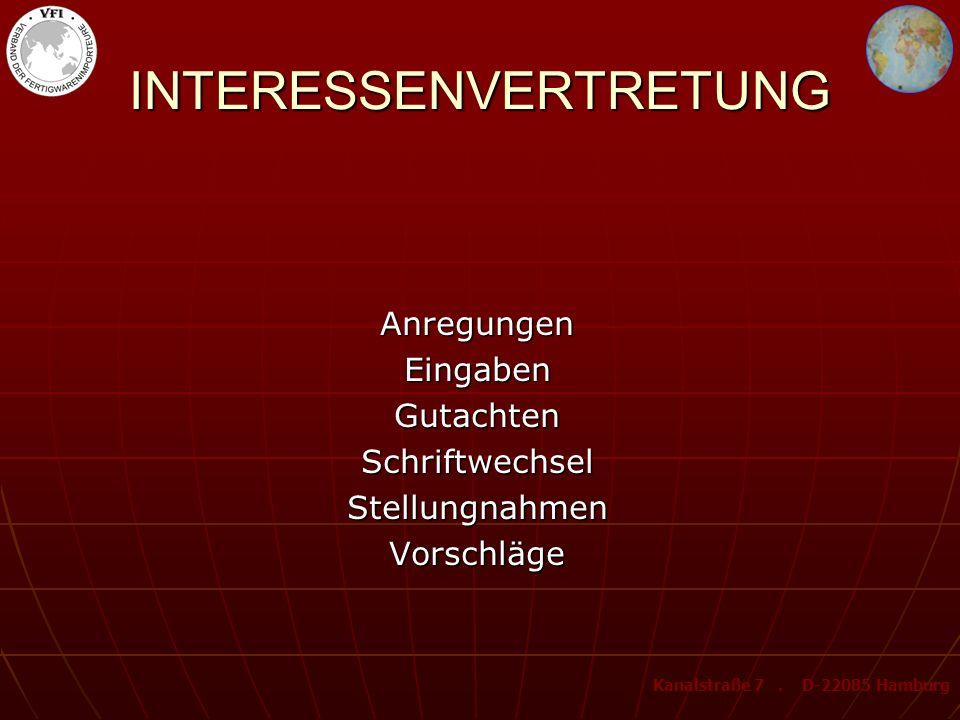 Behörden InstitutionenOrganisationen MinisterienKONTAKTE national international Kanalstraße 7. D-22085 Hamburg