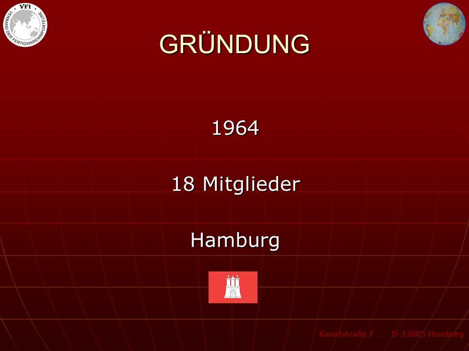 GRÜNDUNG 1964 18 Mitglieder Hamburg Kanalstraße 7. D-22085 Hamburg