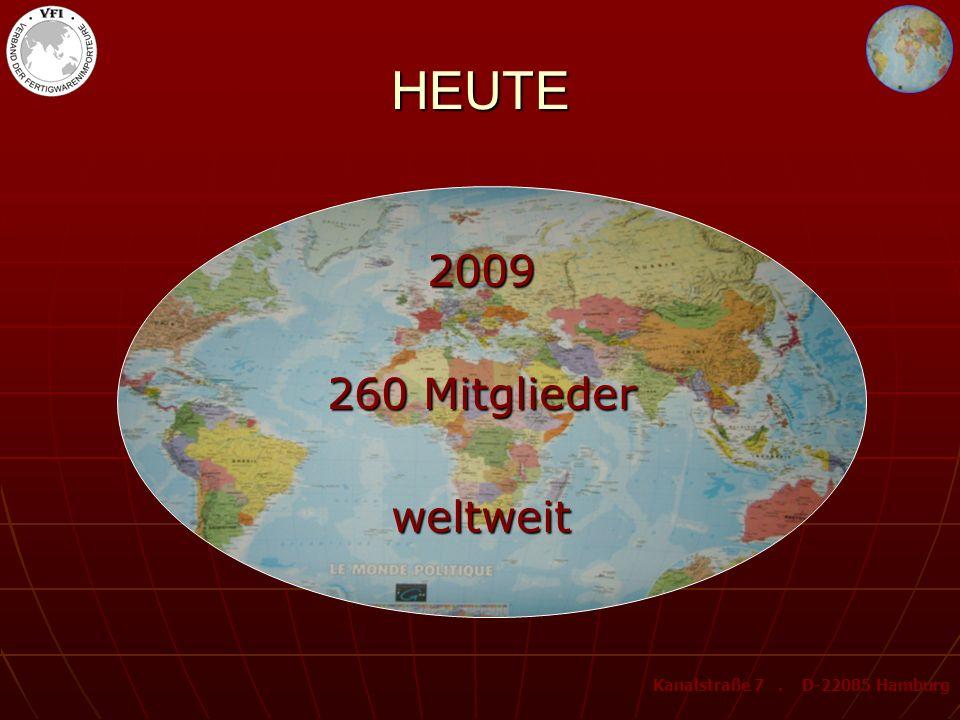 HEUTE 2009 260 Mitglieder weltweit Kanalstraße 7. D-22085 Hamburg
