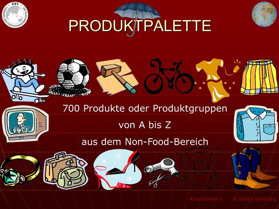 PRODUKTPALETTE 700 Produkte oder Produktgruppen von A bis Z aus dem Non-Food-Bereich Kanalstraße 7.