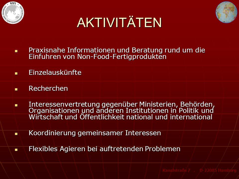 PRODUKTPALETTE 700 Produkte oder Produktgruppen von A bis Z aus dem Non-Food-Bereich Kanalstraße 7. D-22085 Hamburg