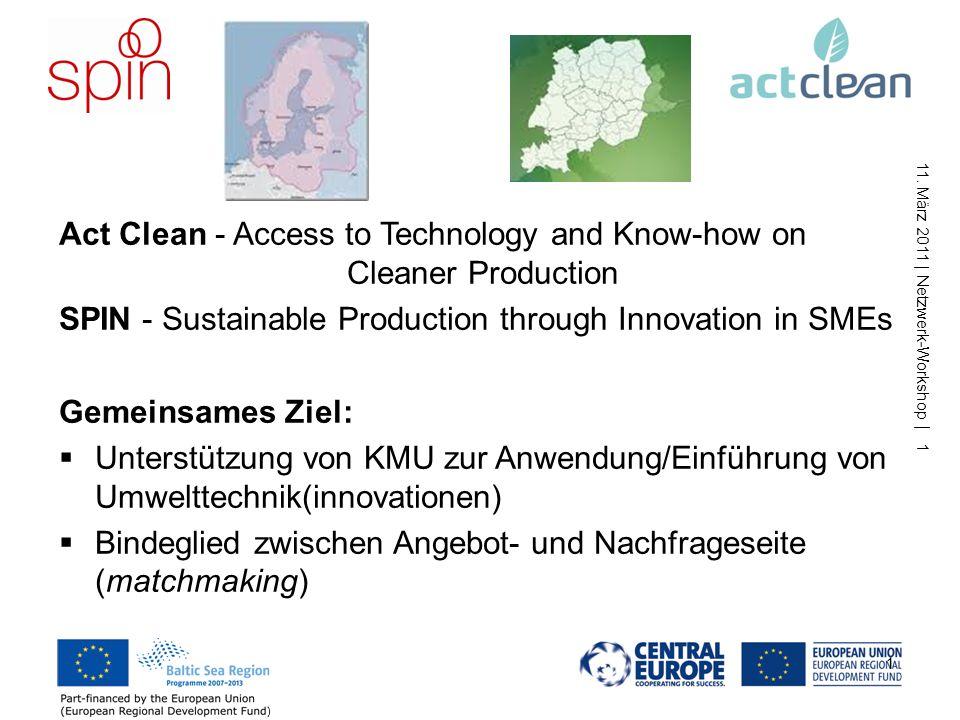 INTERREG-Projekte SPIN & Act Clean Netzwerk-Workshop Umwelttechnologietransfer und -innovationen im Ostseeraum und in Zentraleuropa Berlin, 11. März 2