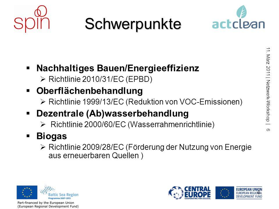 11. März 2011 | Netzwerk-Workshop | 5 5 SPIN Produkte SPIN Webseite (www.spin-project.eu) Toolbox Innovationsdatenbank (Zugang über SPIN Webseite) Bes