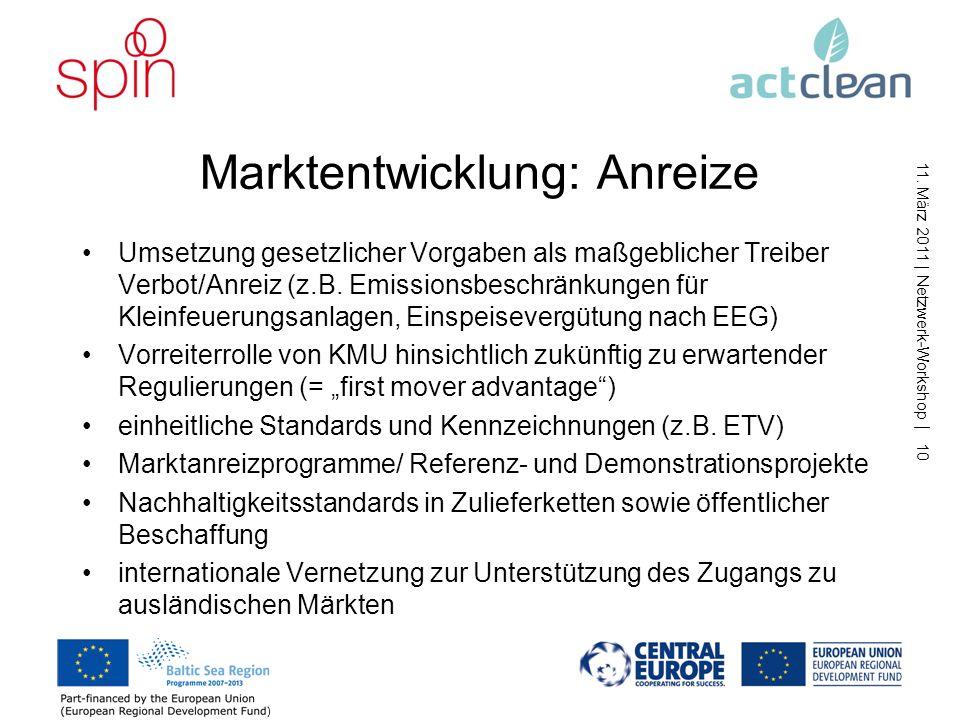 11. März 2011   Netzwerk-Workshop   9 Marktentwicklung: Hemmnisse Innovationslücke zwischen Forschung und Markteinführung unterschiedliche Technologie