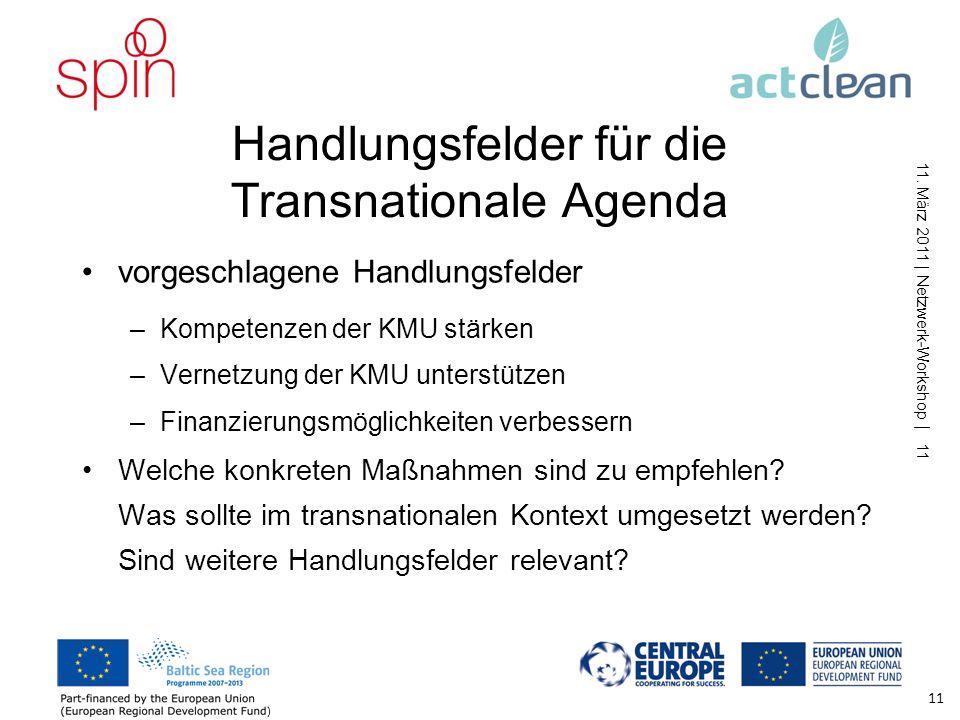 11. März 2011 | Netzwerk-Workshop | 10 Marktentwicklung: Anreize Umsetzung gesetzlicher Vorgaben als maßgeblicher Treiber Verbot/Anreiz (z.B. Emission