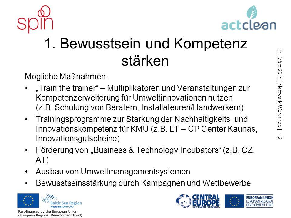 11. März 2011   Netzwerk-Workshop   11 Handlungsfelder für die Transnationale Agenda vorgeschlagene Handlungsfelder –Kompetenzen der KMU stärken –Vern