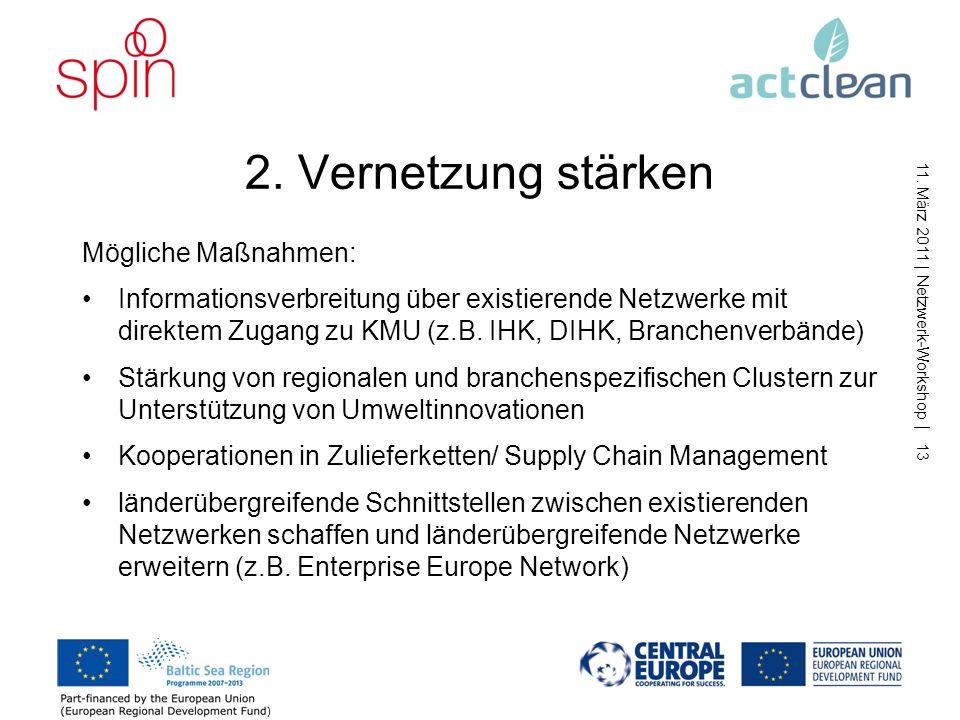 11. März 2011 | Netzwerk-Workshop | 12 1. Bewusstsein und Kompetenz stärken Mögliche Maßnahmen: Train the trainer – Multiplikatoren und Veranstaltunge