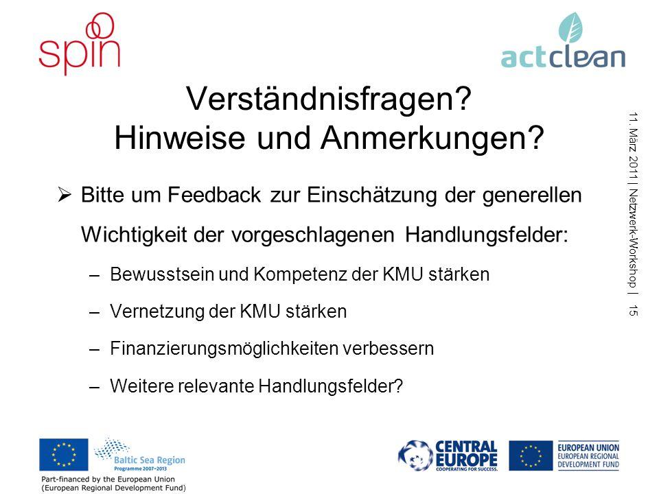 11. März 2011 | Netzwerk-Workshop | 14 3. Finanzierung verbessern Mögliche Maßnahmen: Ideenphase: Innovationsgutscheine für Kooperationen von KMU mit