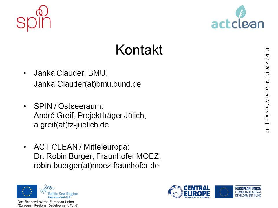 11. März 2011 | Netzwerk-Workshop | 16 Gruppenarbeit nach der Pause Inhalt der Gruppenarbeit (30 min): Diskussion und Weiterentwicklung der vorgeschla