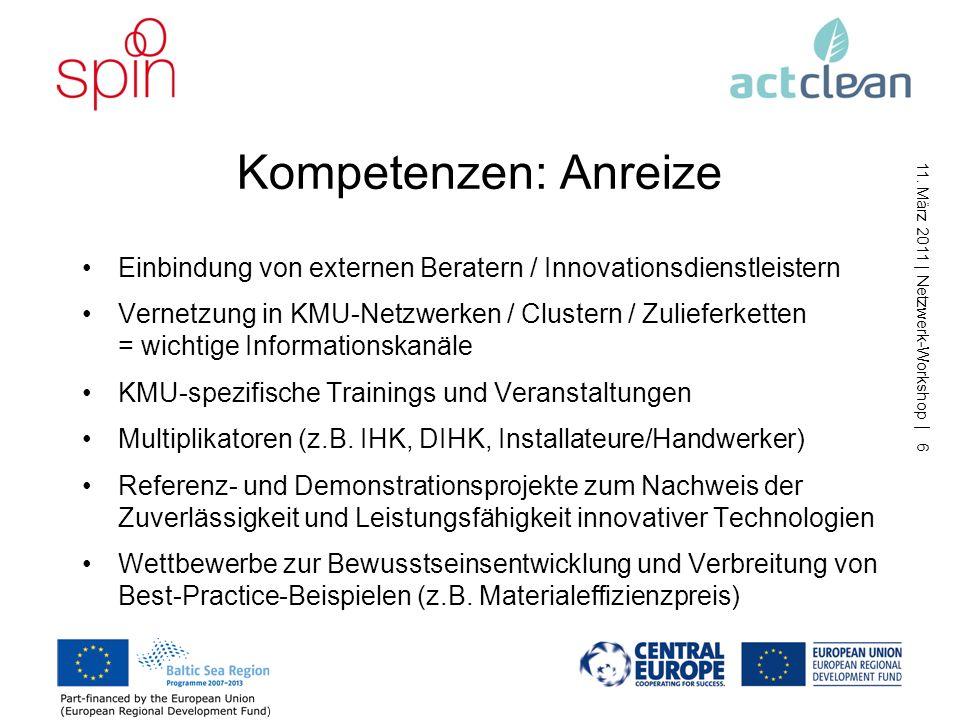 11. März 2011 | Netzwerk-Workshop | 5 Kompetenzen: Hemmnisse Fehlende Ressourcen und Innovationskapazitäten in KMU (Zeit, Personal, Strukturen) oft nu