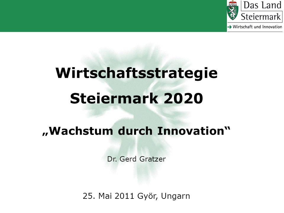 Wirtschaftsstrategie Steiermark 2020 Wachstum durch Innovation Dr. Gerd Gratzer 25. Mai 2011 Györ, Ungarn