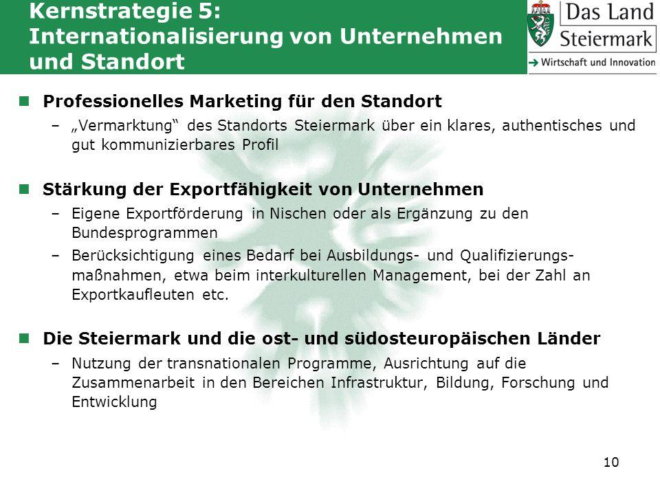 Kernstrategie 5: Internationalisierung von Unternehmen und Standort Professionelles Marketing für den Standort –Vermarktung des Standorts Steiermark ü